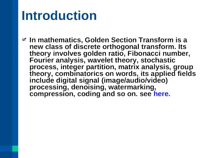 Image Compression Comparison Using Golden Section Transform, CDF 5/3 (Le  Gall 5/3) and CDF 9/7 Wavelet Transform By Matlab - [PPT Powerpoint]